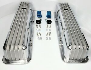 Polished Aluminum Finned Tall Valve Covers For Small Block Chevy 350 Sbc