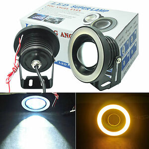 2x Hi power 3 5 Projector Led Fog Light W Yellow Cob Halo Angel Eye Rings Car