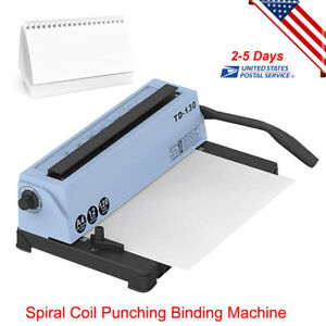 Steel Metal Spiral Coil 34 Holes Manual Punching Binding Machine 4x4mm Hole Usa