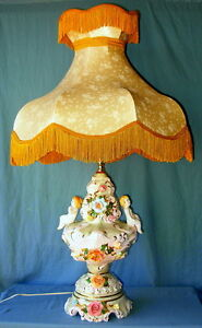 Vintage Capodimonte Porcelain Lamp Cherubs Flowers Beautiful Fringed Shade