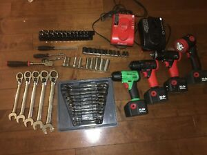 Snap On Tools Mix14 4v Cordless Tools Huge Lot Nice Socket Wrench Ratchet 15 Pc