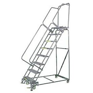 New 8 Step 24 wx71 d Stainless Steel Rolling Safety Ladder Serrated Grating