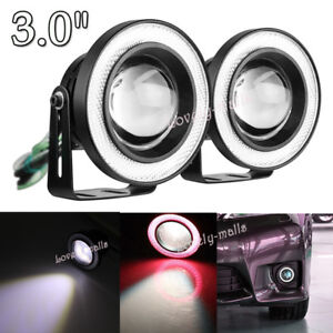 3 0 Red Projector Led Fog Daytime Drl Running Cob Halo Angel Eyes Fit Dodge