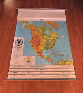 Cram Pull Down 5 In 1 Map North South America Europe Asia And Africa 56in W