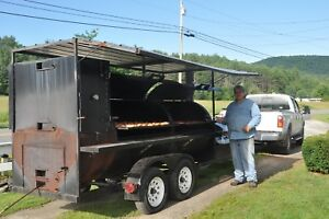 Custom Smoker Pit Trailer With Bbq Grill Oven And Sink 4 Diameter