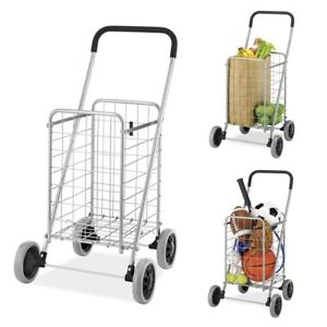 Folding Shopping Cart Grocery Rolling Utility Large Basket Capacity Light Weight