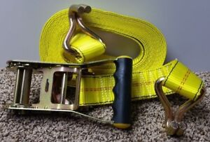 Highland Super Duty Yellow Cargo Tie Down Straps With Ratchet J hooks 2 Pack