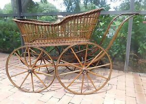Antique Victorian Brown Wicker Pram Baby Carriage Stroller