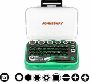 Jonnesway Rd02040s 40 Pcs 1 4 Dr Mini Ratchet Bit Set 6 13 Mm