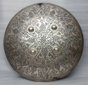 Fine Hand Engraved Silver Inlaid Mughal Battle Armory Shield Dhal Indo Persian