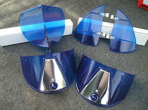 New Set Of Blue Vintage Style Hood Bug Vent Deflectors Head Light Visors 86