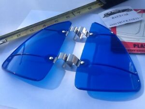 New Pair Of Accessory Blue Colored Vintage Style Air Vent Window Deflectors 86