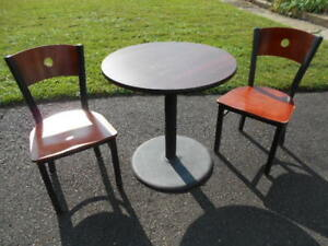 Used Mts Bistro Style 30 Round Table W two Chairs