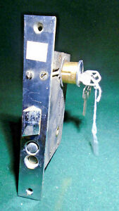 Vintage Push Button Brass Entry Mortise Lock W Key 8 Faceplate 1004 1