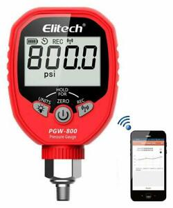 Wireless Digital Pressure Gauge 800psi Refrigeration Hvac Record Elitech Pgw 800
