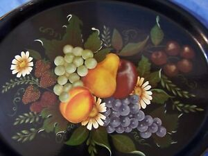 Antique Vintage Tole Hand Painted Toleware Serving Tray Fruit Still Life Nice
