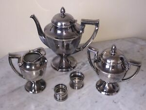 Vintage Columbian Silver Plated Coffee Creamer Sugar Bowl Set Napkin Rings