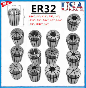 Er32 Spring Chuck Collet 13pc Set 1 16 3 4 Inch By 16th Precision New Bp