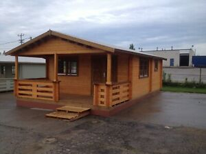 18ft X 27ft 3 Room Log Cabin Guest Pool House Building Kit With Covered Porch