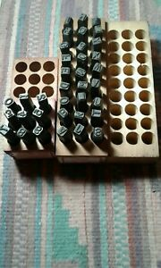 Gruv Grip Steel 1 4 Number Letter Stamps Complete With Wood Storage Boxes