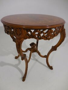 Vintage Italianate Louis Xv Venetian Style Ornate Exotic Wood Inlay Side Table