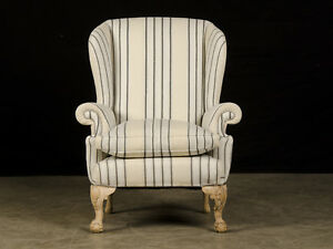 Antique English Chippendale Style Pale Mahogany Antique Wing Chair Circa 1880