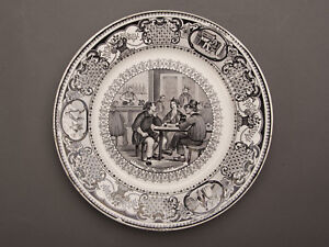 Five Antique Gien French Black And White Transfer Ware Plates Circa 1875