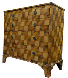 19thc English Faux Painted Bureau