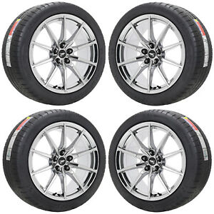 19x10 5 19x11 Ford Mustang Gt350 Pvd Chrome Wheels Tires Factory Oem 10053 10054