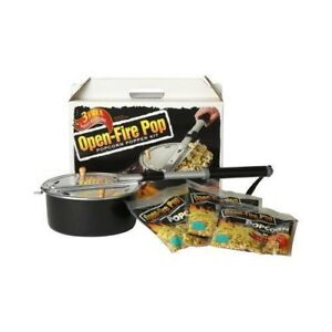 new Wabash Valley Farms Open Fire Pop Popcorn Popper 5 Popcorn Kits Included