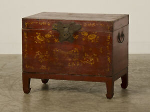 Antique Chinese Red Lacquer Trunk Gold Painted Decoration Kuang Hsu Period 1875