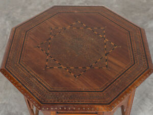 Antique Indian Inlaid Rosewood Ebony And Brass Hoshiapur Table India Circa 1890