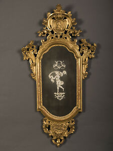 Antique Italian Neoclassical Gold Leaf Venetian Mirror Italy Circa 1790