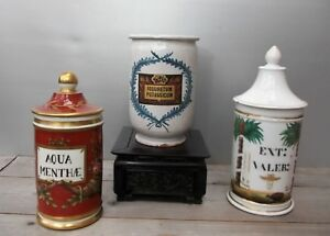Set Of Three Antique Pots Pharmacy Porcelain And Faience