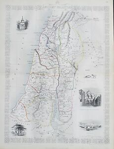 C1854 Ancient Palestine Israel Genuine Antique Map By Rapkin Free Post Worldwide