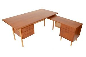 Danish Mid Century Modern Torben Strandgaard Teak Oak Executive Desk Return