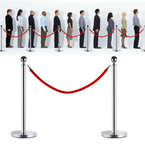 2x Ball Top Silver Stainless Steel Crowd Control Stanchions Velvet Rope Barrier