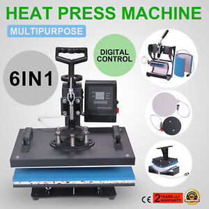 6in1 Digital T shirt Heat Press Transfer Mug Sublimation Cup Plate Free Shipping