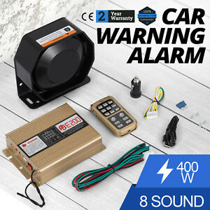 In 400w 8 Sound Loud Car Warning Alarm Police Fire Siren Pa Mic System Led Hq