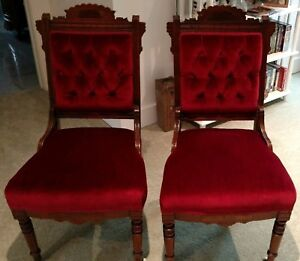 Two Antique Victorian Eastlake Walnut Parlor Chairs Burgundy Velvet Seats