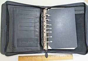 Kirkland Signature Black Leather 7 Ring Binder Day Planner Zipper Organizer