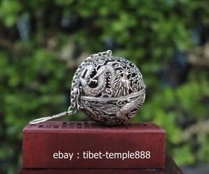 15cm Tibet Buddhism Silver Hollow Out Lucky Dragon Phoenix Incense Burner Censer