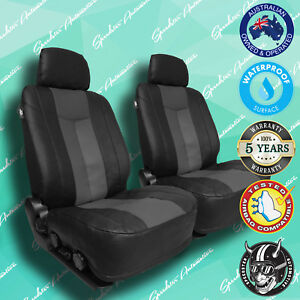 For Toyota Yaris Grey Black Leather Car Front Seat Covers Thick Vinyl All Over