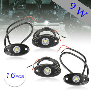16x 9w White Led Rock Light For Jeep Offroad Truck Under Body Trail Rig Lamp