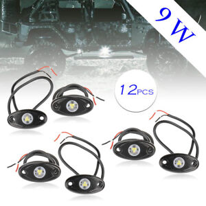 12pcs White Cree Led Rock Light For Truck Golf Jeep Atv Suv Trail Rig Bar Lamp