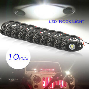 10x White Led Rock Lamp For Jeep Atv Off road Truck Under Body Trail Rig Bar
