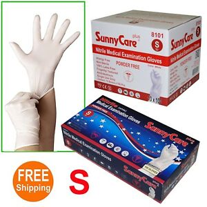 1000 White Nitrile Medical Exam Gloves Powder Free non Vinyl Latex Size Small