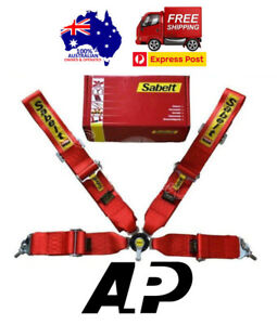 Sabelt Lightweight Racing Camlock Harness Red 4 Point 3 Snap On Quick Release