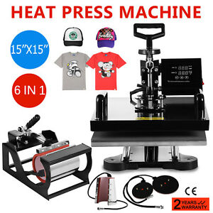 15 x15 t shirt Heat Press Transfer 6in1 Combo Printing Clamshell Baseball Hat