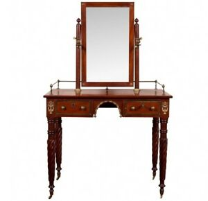 Antique Empire Dressing Vanity Table With Mirror And Candlesticks C 1830 73785